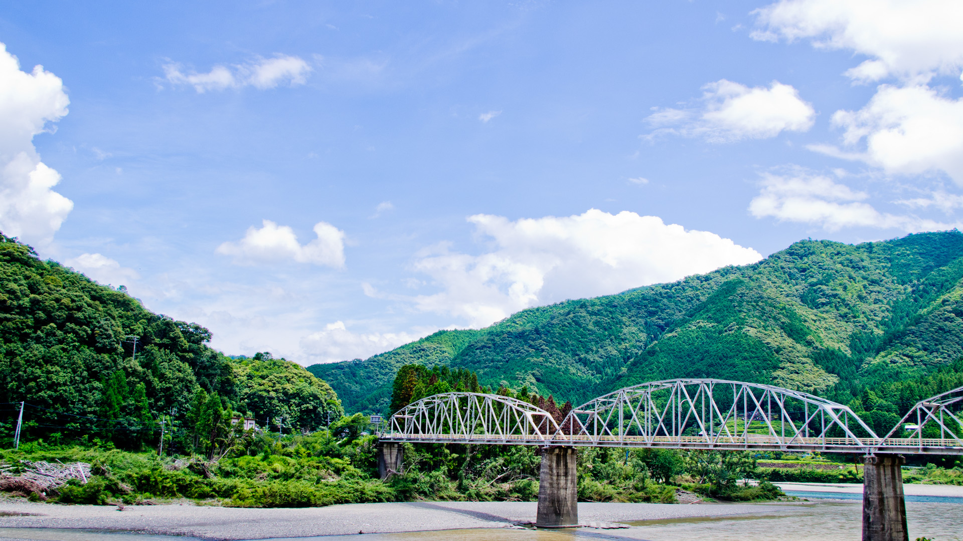 熊野の渓谷に掛かる橋